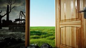 Vuelo a través de una puerta abierta Un portal entre la naturaleza y la catástrofe ecológica, apocalipsis Animación realista 4K ilustración del vector