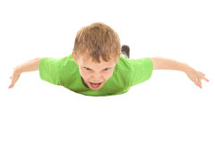 Vuelo verde de la camisa del muchacho fotos de archivo
