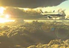 Vuelo y nubes de Jet Aircraft Foto de archivo