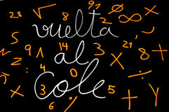 Vuelta al cole, back to school written in spanish Royalty Free Stock Images