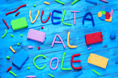 Vuelta al cole, back to school written in spanish Royalty Free Stock Image