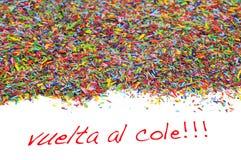 Vuelta al cole, z powrotem szkoła pisać w spanish zdjęcie stock