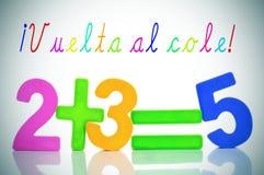 Vuelta-Al Cole, zurück zu Schule auf spanisch Lizenzfreies Stockbild