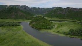 Vuelta circular del arroyo con los lirios en fluir superficial del agua alrededor de la colina almacen de metraje de vídeo
