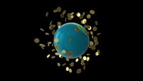 Vuelta de Bitcoin del globo ilustración del vector