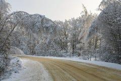 Vuelta de un paisaje del camino del invierno fotografía de archivo