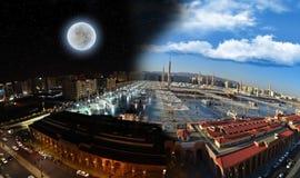 Vuelta del día a la noche en la mezquita de Nabawi Fotos de archivo libres de regalías