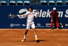 Vuelta del jugador de tenis un ball-1 Foto de archivo libre de regalías