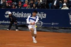 Vuelta del jugador N.Djokovic un ball-1 Fotos de archivo libres de regalías