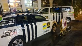 MTN Qhubeka bicycle team cars at the hotel. Vuelta España near Malaga Stock Image