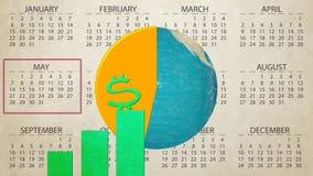 Vuelta financiera anual del globo de la tierra del aumento de la carta del informe de ventas en el nuevo fondo del movimiento de  libre illustration