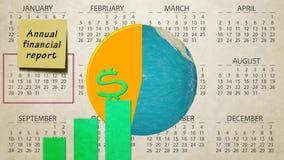 Vuelta financiera anual del globo de la tierra del aumento de la carta del informe de ventas en el nuevo fondo del movimiento de  ilustración del vector