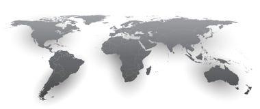 Vuelta Gray World Map - vector Fotografía de archivo