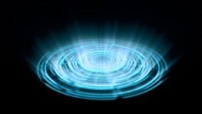 Vuelta porta del vórtice del holograma de Tron en el azul de la tierra con los rayos ligeros verticales