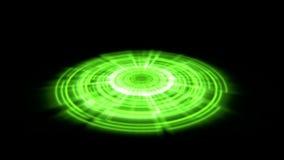 Vuelta porta del vórtice del holograma de Tron en el verde de la tierra con los rayos ligeros ilustración del vector