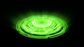 Vuelta porta del vórtice del holograma de Tron en el verde de la tierra con los rayos ligeros verticales stock de ilustración