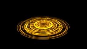 Vuelta porta del vórtice del holograma de Tron en la naranja de la tierra con los rayos ligeros stock de ilustración