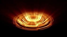 Vuelta porta del vórtice del holograma de Tron en la naranja de la tierra con los rayos ligeros verticales stock de ilustración