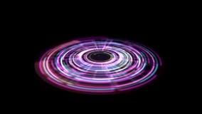 Vuelta porta del vórtice del holograma del arco iris de Tron en la tierra stock de ilustración