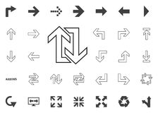 Vuelta trasera arriba y abajo del icono de las flechas Iconos del ejemplo de la flecha fijados libre illustration