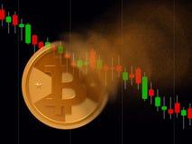 Vueltas de Bitcoin al polvo fotografía de archivo