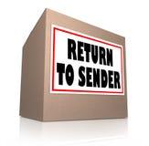Vuelva al paquete indeseado de la caja de cartón del remitente Imagen de archivo libre de regalías