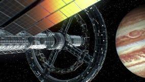 Vuelva de Júpiter La gran nave espacial vuelve de un viaje grande del espacio, animación 3d La textura del planeta fue creada libre illustration