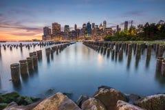 Vues étonnantes de lever de soleil pour abaisser Manhattan Photographie stock
