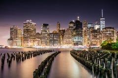 Vues étonnantes de lever de soleil pour abaisser Manhattan Images libres de droits