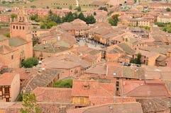 Vues aériennes de la ville du berceau d'Ayllon des villages rouges en outre de la belle ville médiévale à Ségovie Terre d'archite Photographie stock