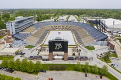 Vues aériennes de Ross-Ade Stadium On The Campus d'Université de Purdue images libres de droits