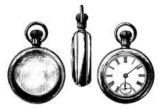 Vues antiques du dessin trois de montre de poche Images libres de droits