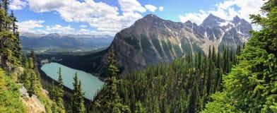 Vues augmentant autour de Lake Louise, traînée de Lakeview, plaine de six ruches de glaciers, de lac Agnès, de lac mirror, petite Photos libres de droits