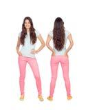 Vues avant et arrières d'une fille de teenger avec de longs cheveux photo stock