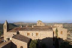 Vues d'église médiévale de Parador De Cardona, un château du 9ème siècle de flanc de coteau, près de Barcelone, la Catalogne, Car Photographie stock