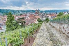 Vues d'Esslingen AM le Neckar de Burgsteige près de Stuttgart, allemand image stock