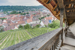 Vues d'Esslingen AM le Neckar des escaliers de château, Allemagne Images stock