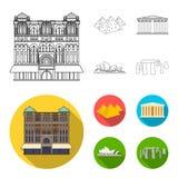 Vues de contour différent de pays, icônes plates dans la collection d'ensemble pour la conception Web célèbre d'actions de symbol illustration de vecteur