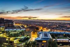 Vues de coucher du soleil au-dessus d'Edimbourg image libre de droits