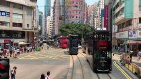 Vues de jour normales de Wan Chai City de baie de chaussée banque de vidéos