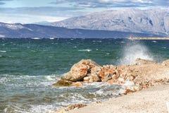 Vues de la Croatie Plage sur l'île Hvar Photos libres de droits