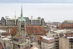Vues de la tour de cathédrale, Lausanne, lac Genève, mai 2006 Photographie stock