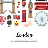 Vues de Londres de bande dessinée de vecteur avec l'endroit pour l'illustration des textes illustration libre de droits