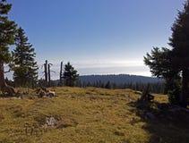 Vues de tendre de mont dans Jura suisse vers les alpes françaises Image stock
