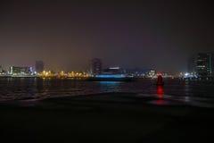 Vues de ville d'Amsterdam la nuit Vues générales de paysage de ville Photos stock