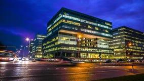 Vues de ville d'Amsterdam la nuit Vues générales de paysage de ville Images stock