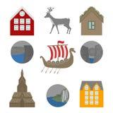 Vues de ville Point de repère de la Norvège Éléments plats de voyage Alesund, Bergen et Oslo Roche de pupitre, sept cascades de s illustration stock