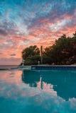 Vues du Curaçao de coucher du soleil images libres de droits