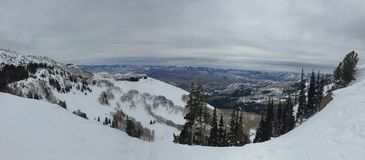 Vues majestueuses d'hiver autour de Wasatch Front Rocky Mountains, Brighton Ski Resort, près de vallée de Salt Lake et de Heber,  photo stock