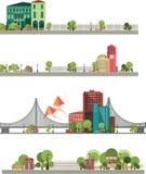 Vues panoramiques de la ville sur un fond blanc Image libre de droits